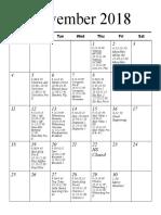 Preschool Schedule November December