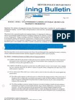 DPD training bulletin unauthorized camping ordinance