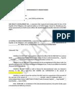 Memorandum of Understanding (Acknowledgment of Assignment)
