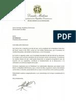 Carta de felicitación del presidente Danilo Medina a Jair Bolsonaro, presidente electo de Brasil
