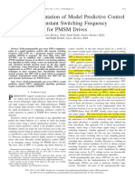 FPGA Implementation of Model Predictive Control With Constant Switching Frequency for PMSM Drives