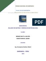 Balance Materia y Energia en Biotecnologia- Mendez