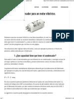Cálculo de Un Condensador Para Un Motor Eléctrico. - Infootec.net