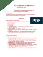 Estructura Del Informe de Creacion de Empresas 2018