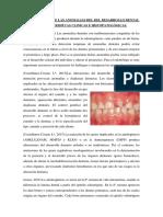 Etiopatogenia de Las Anomalias Del Del Desarrollo Dental y Caracterisitcas Clinicas e Histopatológicas