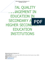 Total Quality Management in Education in Secondary and Higher Secondary Education Institutions [www.writekraftcom]