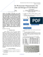 Study of Textile Wastewater Characteristics for Raymond Textile and Design of Uasb Reactor