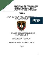 Silabo Patrullaje II - 2018 - Honestidad