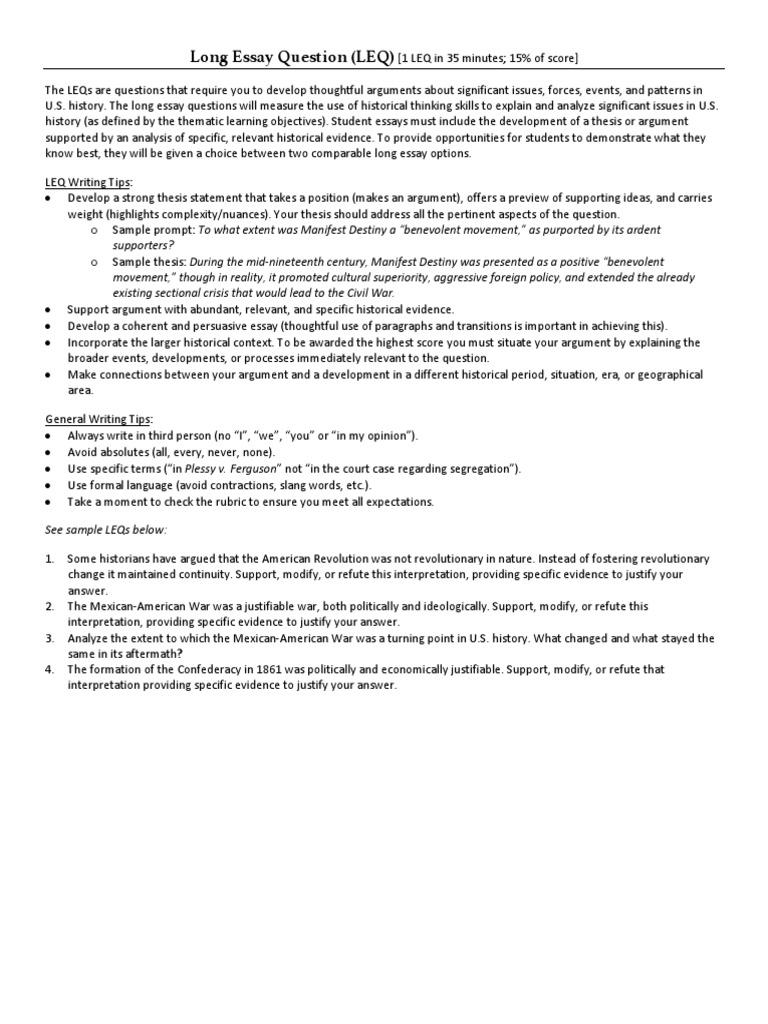 Long Essay Question Rubric  PDF  Essays  Argument