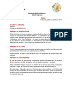 Modelo Para Informe de Auditoria Interna