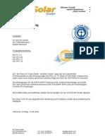 Certificado AS Solar ISFH Colectores
