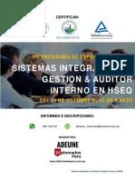 VIII Sistemas Integrados de Gestión Auditor Interno en HSEQ TUV 20-10-2018
