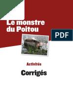 Le monstre du Poitou. Activités. Corrigés.