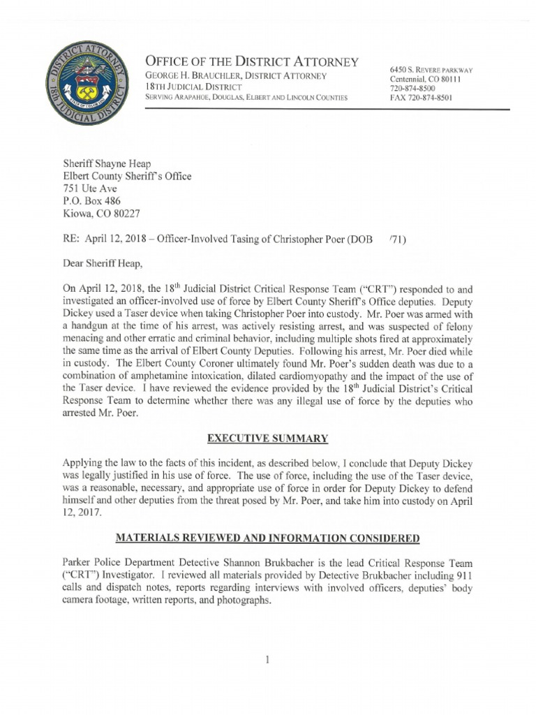 District Attorney's review of the April 12 death of a man