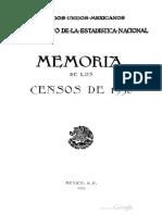 Memoria de Los Censos Generales de Pobla