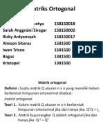 Materi Matriks Ortogonal Kel 4
