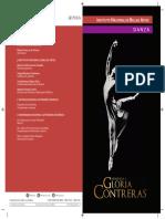 """Programa de mano """"Homenaje a Gloria Contreras"""" 2016"""