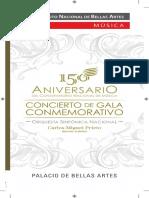 """Programa de mano """"150 Aniv. Conservatorio Nacional de Música"""""""