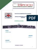 Bienes y Servicios Con Tarifa 0% y 12%