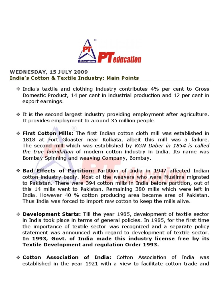 development of cotton textile industry in india