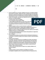 Cuestionario de La Ley de Amparo y Exhibición Personal y de Constitucionalidad