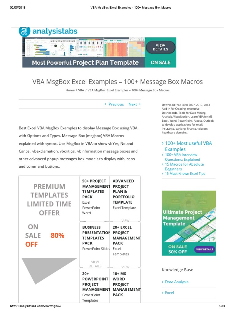 VBA MsgBox Excel Examples - 100+ Message Box Macros | Visual Basic For  Applications | Microsoft Excel