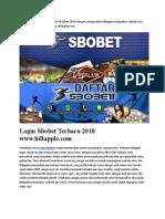 Login Sbobet Terbaru 2018 Www.hillapple.com
