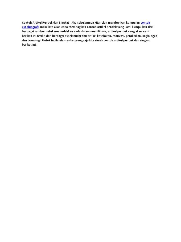 Contoh Artikel Pendek Dan Singkat