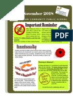 Arklan School Newsletter for November 2018