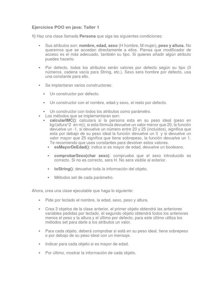 ejercicios básicos poo java pdf