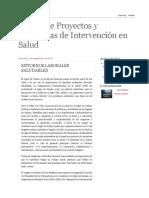 Diseño de Proyectos y Programas de Intervención en Salud