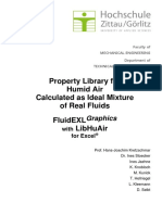 Property Library For Humid Air Calculated as Ideal Mixture of Real Fluids
