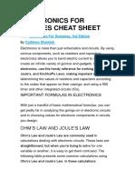 Electronics for Dummies Cheat Sheet