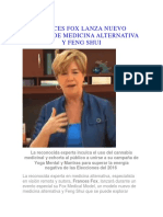 Frances Fox Lanza Nuevo Modelo de Medicina Alternativa y Feng Shui