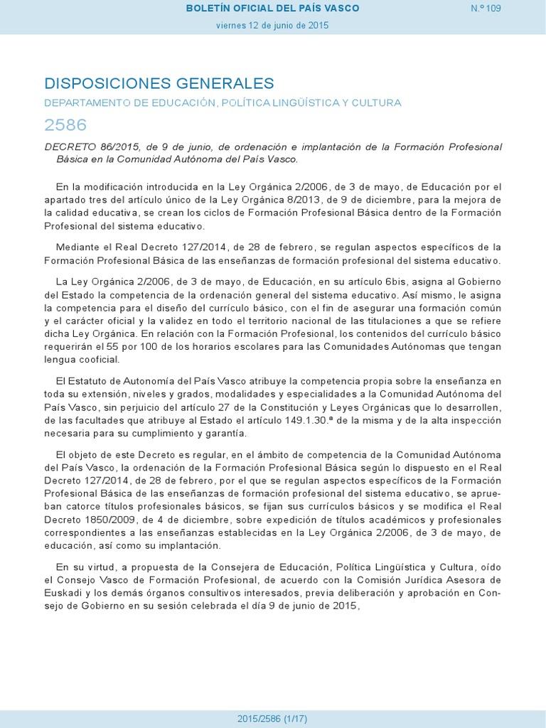 Decreto 86 2015 Fp Básica País Vasco