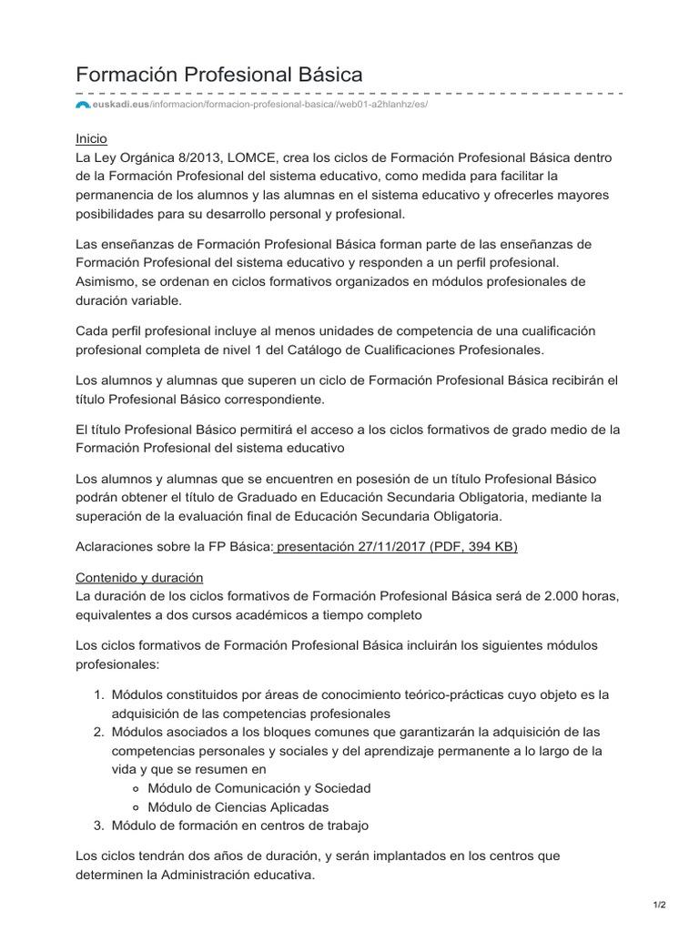 Euskadi Eus Formación Profesional Básica