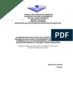 Alfabetización Tecnológica Del Docente Centrado en Canaima Educativo Para El Mejoramiento Del Proceso de Aprendizaje