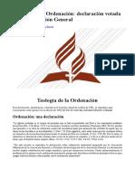 Teología de la Ordenación (declaración votada por la Asociación General)