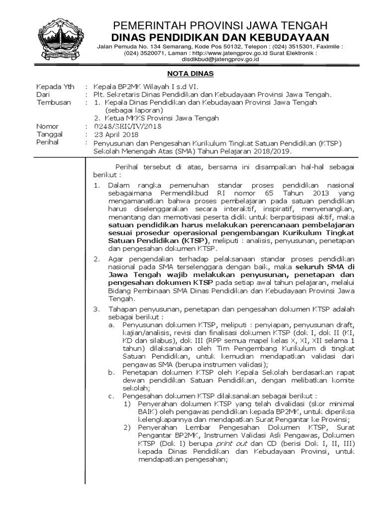 Kop Surat Dinas Pendidikan Dan Kebudayaan Provinsi Jawa ...