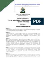 Ley de Trasplante y Extraccion de Organos y Tejidos Humanos en Honduras (Actualizada-07)