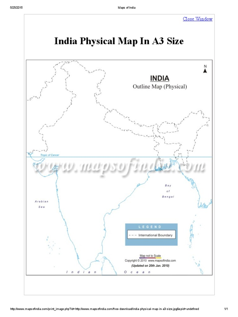 Maps of India A3 Physical Mapsofindia Com on