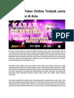 Situs Judi Poker Online Terbaik Serta Paling Besar Di Asia1