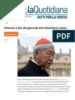 Attacchi al cardinale Zen Dal Giornale Del Miliardario Cinese