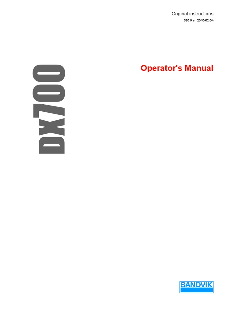 Operators Manual | Drilling Rig | Dust