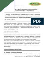 Edital Nº 01.2018 - Programa Institucional de Apoio a Projetos de Extensão - PAPEX-PROEXT