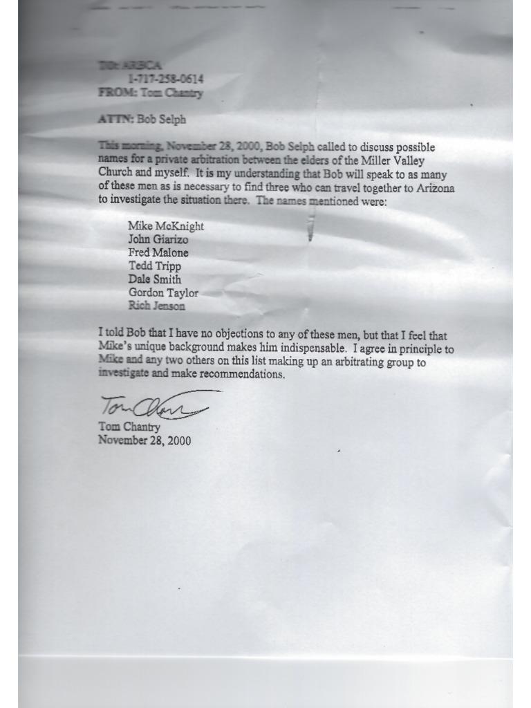 Thomas Chantry Letter to ARBCA/ Bob Selph on 3-Man Informal Council
