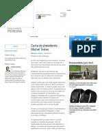 Carta Do Presidente Michel Temer _ Merval Pereira - O Globo