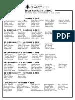 November 3, 2018 Yahrzeit List