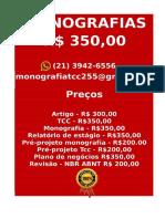 Tcc & Monografia Por 349,99 Whatsapp (21) 974111465 Editoracaoservicos@Gmail.com (94)