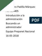 Alejandro Padilla Márquez Introduccion a La Administracion Buscando Un Administrador